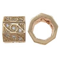 Messing kralen, Veelhoek, rose goud plated, micro pave zirconia, nikkel, lood en cadmium vrij, 6.50x7.50x1mm, Gat:Ca 5.5mm, 7.5pC's/Lot, Verkocht door Lot