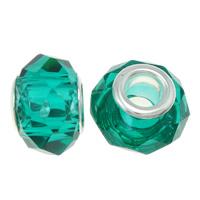 European kristalli helmiä, Rondelli, hopeaa Kaksoisjohdin ilman peikko, Indicolite, 14x9mm, Reikä:N. 5mm, 20PC/laukku, Myymät laukku