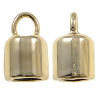 Końcówka ze stopu cynku, Stop cynku, Rurka, Platerowane prawdziwym złotem, wysokiej jakości poszycia i nigdy nie znikną, bez zawartości ołowiu i kadmu, 9x14x8.50mm, otwór:około 3.5mm, 20komputery/torba, sprzedane przez torba
