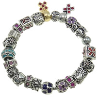 Zinc Alloy European Bracelet, plated, charm bracelet & enamel & with rhinestone, nickel, lead & cadmium free, 9-12mm, Sold Per Approx 7.5 Inch Strand