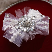 Bridal Hair Clip, Gauze, with Spun Silk & Crystal & Iron & Acrylic, Flower, with rhinestone, white, 110x150mm, Sold By PC