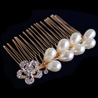 Bridal Decorative Hair Comb, Zinc Alloy, with Glass Pearl, gold color plated, with Czech rhinestone, nickel, lead & cadmium free, 85x20mm, 5PC/Lot, Sold By Lot