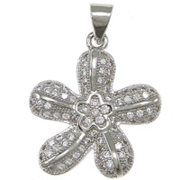 Cubic Zirconia Micro Pave Brass Pendant, Flower, platinum plated, micro pave cubic zirconia, nickel, lead & cadmium free, 19x22x3mm, Hole:Approx 3x4mm, 10PCs/Lot, Sold By Lot