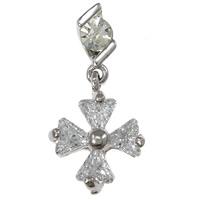 Cubic Zirconia Micro Pave Brass Pendant, Cross, platinum plated, micro pave cubic zirconia, nickel, lead & cadmium free, 11.50x15x6mm, 20PCs/Lot, Sold By Lot