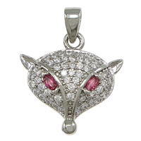 Cubic Zirconia Micro Pave Brass Pendant, Fox, platinum plated, micro pave 51 pcs cubic zirconia, nickel, lead & cadmium free, 16x16x3.50mm, Hole:Approx 2.5x3mm, 10PCs/Lot, Sold By Lot