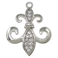 Cubic Zirconia Micro Pave Brass Pendant, Fleur-de-lis, platinum plated, micro pave 13 pcs cubic zirconia, nickel, lead & cadmium free, 17x21.50x2.50mm, Hole:Approx 1.5mm, 20PCs/Lot, Sold By Lot