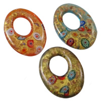 Millefiori Slice Lampwork Pendants, Oval, handmade, with millefiori slice & gold sand & gold foil, mixed colors, 34x47x8mm, Hole:Approx 14x19mm, 12PCs/Box, Sold By Box