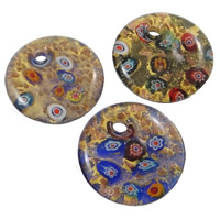 Millefiori Slice Lampwork Pendants, Flat Round, handmade, with millefiori slice & gold sand & gold foil, mixed colors, 41x9mm, Hole:Approx 6mm, 12PCs/Box, Sold By Box
