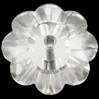 الخرز أزياء زجاج, زهرة, لون الفضة مطلي, حجر الراين التقليد & حجم مختلفة للاختيار & الأوجه, حفرة:تقريبا 0.5-1mm, 100أجهزة الكمبيوتر/حقيبة, تباع بواسطة حقيبة