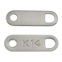 Stainless Steel Connector, 304 Stainless Steel, Rectangle, 1/1 loop, original color, 11x3.50x0.50mm, Hole:Approx 1.5mm, 2mm, 1000PCs/Lot, Sold By Lot