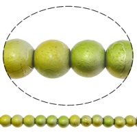 Fashion Glass Beads, Round, drawbench, yellow, 6mm, Hole:Approx 1mm, Length:Approx 32.5 Inch, 10Strands/Bag, Sold By Bag