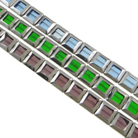 Imitation CRYSTALLIZED™ Element Crystal Beads, Square, half-plated, imitation CRYSTALLIZED™ crystal, multi-colored, 15x6mm, Hole:Approx 1mm, Length:Approx 11.8 Inch, 10Strands/Bag, Approx 20PCs/Strand, Sold By Bag