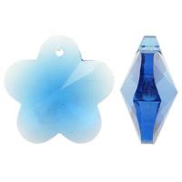 Zawieszki kryształowe, Kryształ, Kwiat, fasetowany & imitacja kryształu CRYSTALLIZED™, szafir, 28x27x14mm, otwór:około 1mm, 10komputery/torba, sprzedane przez torba