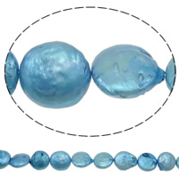 Coin Cultured Freshwater Pearl Beads, Button, blue, 13-14mm, Hole:Approx 0.8mm, Sold Per 15 Inch Strand