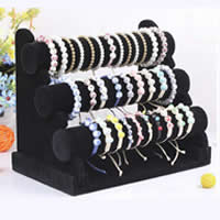 Velveteen Bracelet Display, with Cardboard, black, 250x310x170mm,50mm,300mm, 5PCs/Lot, Sold By Lot