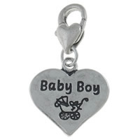 Zinc Alloy Lobster Clasp Charm, Heart, antique silver color plated, different designs for choice & with letter pattern, nickel, lead & cadmium free, 17x31x3.50mm, Hole:Approx 3.5x4.5mm, 10PCs/Bag, Sold By Bag