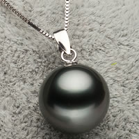 Tahitian Pearls Pendant, with Brass, Round, natural, different size for choice, black, Hole:Approx 3x6mm, Sold By PC