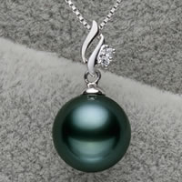Tahitian Pearls Pendant, with Brass, Round, natural, with cubic zirconia, malachite green, 10-11mm, Hole:Approx 3x6mm, Sold By PC