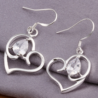 Brass Drop Earring, Heart, real silver plated, with cubic zirconia, nickel, lead & cadmium free, 36x19mm, 10Pairs/Lot, Sold By Lot