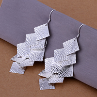 Brass Drop Earring, Rhombus, real silver plated, flower cut, nickel, lead & cadmium free, 69x32mm, 10Pairs/Lot, Sold By Lot