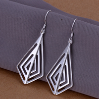 Brass Drop Earring, real silver plated, nickel, lead & cadmium free, 49x20mm, 10Pairs/Lot, Sold By Lot
