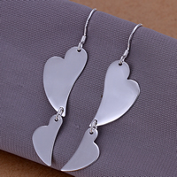Brass Drop Earring, Heart, real silver plated, nickel, lead & cadmium free, 53x13mm, 10Pairs/Lot, Sold By Lot