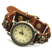 Unisex Wrist Watch, Cowhide, with zinc alloy dial, antique bronze color plated, nickel, lead & cadmium free, 20-40mm, Length:Approx 7.5 Inch, 10Strands/Bag, Sold By Bag