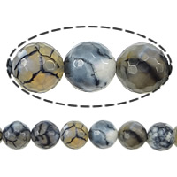 Natural Dragon Veins Agate Beads, Round, faceted, 10mm, Length:Approx 15.5 Inch, 10Strands/Lot, Approx 38PCs/Strand, Sold By Lot