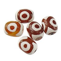 Natural Tibetan Agate Dzi Beads, Oval, three-eyed & two tone, mixed colors, 18x15x15mm, Hole:Approx 2mm, 50PCs/Lot, Sold By Lot