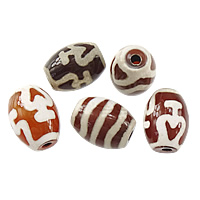 Natural Tibetan Agate Dzi Beads, Oval, mixed & two tone, 16x12x12mm, Hole:Approx 2mm, 100PCs/Lot, Sold By Lot