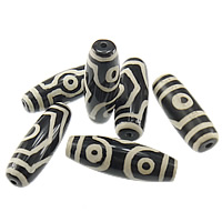 Natural Tibetan Agate Dzi Beads, Oval, mixed & two tone, 40x13x13mm, Hole:Approx 2mm, 10PCs/Lot, Sold By Lot