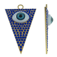 Evil Eye Pendants, Zinc Alloy, with Resin, Triangle, gold color plated, with rhinestone, lead & cadmium free, 45x70x10mm, Hole:Approx 5mm, 10PCs/Bag, Sold By Bag
