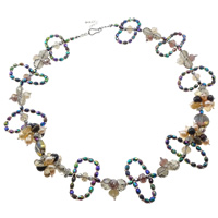 Crystal Freshwater Pearl Necklace, with Crystal & Glass Seed Beads, brass hook and eye clasp, 6-7mm, Sold Per 20.5 Inch Strand