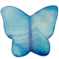 Natural Blue Agate Beads, Butterfly, 45x40x5mm, Hole:Approx 2mm, 10PCs/Bag, Sold By Bag