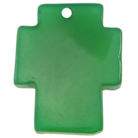 Wisiorek z agatem zielonym , Agat zielony, Krzyż, 24x30x5mm, otwór:około 2mm, 10komputery/torba, sprzedane przez torba