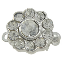 Zinc Alloy Box Clasp, Flower, plated, with rhinestone & single-strand, more colors for choice, nickel, lead & cadmium free, 14x10x8mm, Hole:Approx 1mm, 10PCs/Bag, Sold By Bag