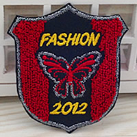 Iron on Patches, Cloth, with Velveteen, Badge, 56x65mm, 100PCs/Lot, Sold By Lot