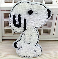 Iron on Patches, Cloth, with Velveteen, Dog, white, 93x123mm, 100PCs/Lot, Sold By Lot