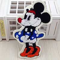 Iron on Patches, Cloth, with Velveteen, Mickey Mouse, multi-colored, 96x165mm, 50PCs/Lot, Sold By Lot