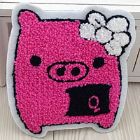Iron on Patches, Cloth, with Velveteen, Pig, pink, 105x120mm, 50PCs/Lot, Sold By Lot
