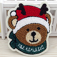 Iron on Patches, Cloth, with Velveteen, Bear, multi-colored, 100x120mm, 50PCs/Lot, Sold By Lot