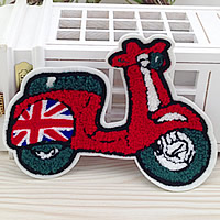 Iron on Patches, Cloth, with Velveteen, Motorcycle, 165x140mm, 50PCs/Lot, Sold By Lot