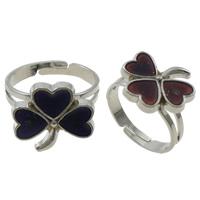 кольцо с эмалью настроения , Латунь, с Железо, Форма цветка, Платиновое покрытие платиновым цвет, регулируемый & настроение эмаль, не содержит никель, свинец, 16x15x2mm, отверстие:Приблизительно 1.5mm, размер:7.5, 100ПК/Box, продается Box