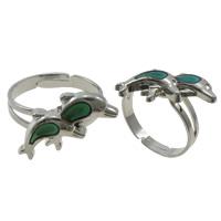 кольцо с эмалью настроения , Латунь, с Железо, Дельфин, Платиновое покрытие платиновым цвет, регулируемый & настроение эмаль, не содержит никель, свинец, 18x14x2.50mm, отверстие:Приблизительно 1.5mm, размер:7.5, 100ПК/Box, продается Box