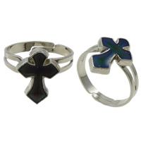 кольцо с эмалью настроения , Латунь, с Железо, Kресты, Платиновое покрытие платиновым цвет, регулируемый & настроение эмаль, не содержит никель, свинец, 11x15x2mm, отверстие:Приблизительно 1.5mm, размер:7.5, 100ПК/Box, продается Box