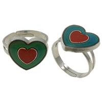 кольцо с эмалью настроения , Латунь, с Железо, Сердце, Платиновое покрытие платиновым цвет, регулируемый & настроение эмаль, не содержит никель, свинец, 14x13x3mm, отверстие:Приблизительно 1.5mm, размер:5, 100ПК/Box, продается Box