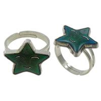 кольцо с эмалью настроения , Латунь, с Железо, Звезда, Платиновое покрытие платиновым цвет, регулируемый & настроение эмаль, не содержит никель, свинец, 17x16x2mm, отверстие:Приблизительно 1.5mm, размер:5, 100ПК/Box, продается Box