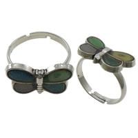 кольцо с эмалью настроения , Латунь, с Железо, бабочка, Платиновое покрытие платиновым цвет, регулируемый & настроение эмаль, не содержит никель, свинец, 18x10x2mm, отверстие:Приблизительно 1.5mm, размер:7.5, 100ПК/Box, продается Box