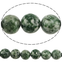 Natural Green Spot Stone Beads, Round, 12mm, Hole:Approx 1.2mm, Length:Approx 15 Inch, 10Strands/Lot, Approx 32PCs/Strand, Sold By Lot