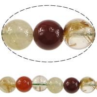 Natural Quartz Jewelry Beads, Rutilated Quartz, Round, mixed colors, 7mm, Hole:Approx 0.6mm, Length:Approx 15.5 Inch, 5Strands/Lot, Approx 56PCs/Strand, Sold By Lot